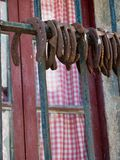 Group of horseshoes in an old window with curtain. Group of rusty horseshoes placed in a row in an old window with rustic curtain of red and white checkered Royalty Free Stock Photos