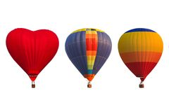 Group hot air balloons isolated on white background Royalty Free Stock Photos