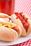 Group of hot dogs and drink Stock Image