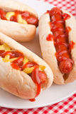 Group of hot dogs on a plate Stock Image