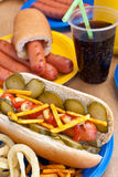 Group of hot dogs on a plate Stock Photo