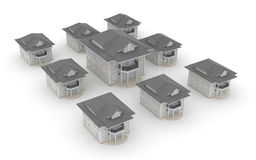 Group of house. This is a computer generated and 3d rendered picture Royalty Free Stock Photo