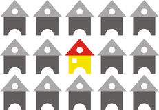 Group Of Houses Arranged In Row Formation. A yellow house with red roof Royalty Free Stock Photos