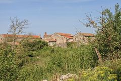 Group of houses in central Istria. On a bike tour through central Istria you drive through this idyllic hamlet royalty free stock images