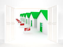 Group of houses on sale Stock Photo