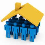Group housing scheme. Concept of group housing scheme with many people figures under a home roof Royalty Free Stock Images