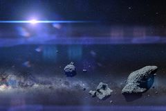 A swarm of asteroids in front of the Milky Way galaxy and the Sun. A group of huge asteroids flying through space vector illustration