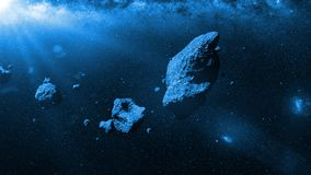 A swarm of asteroids lit by the Sun. A group of huge asteroids flying through space stock illustration