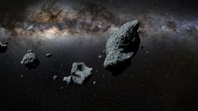 A swarm of asteroids in front of the Milky Way galaxy. A group of huge asteroids flying through space stock illustration