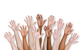 Group of Human Arms Raised.  Royalty Free Stock Photography