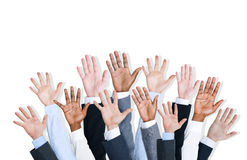 Group of Human Arms Raised Stock Photography