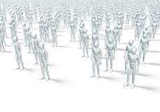 Group of human figures. Crowd of people, rendering, illustration  on white background Stock Images