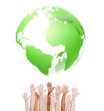 Group of Human Hands with Green Globe Stock Photos