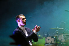 Group HURTS performs on MOST Festival 2013 July 2, 2013 in Minsk, Belarus. MINSK, BELARUS - JULY 2: Group HURTS performs on MOST Festival 2013 July 2, 2013 in Stock Image