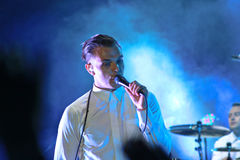 Group HURTS performs on MOST Festival 2013 July 2, 2013 in Minsk, Belarus Stock Photo
