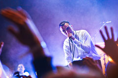 Group HURTS performs on MOST Festival 2013 July 2, 2013 in Minsk, Belarus. MINSK, BELARUS - JULY 2: Group HURTS performs on MOST Festival 2013 July 2, 2013 in Royalty Free Stock Image
