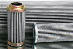 Group of hydraulic filter. Group of cylinder, hydraulic filter with metal elements Stock Photo
