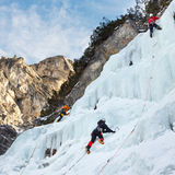 A Group of Ice Climbers in South Tyrol, Italy Royalty Free Stock Photo