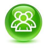 Group icon glassy green round button. Group icon isolated on glassy green round button abstract illustration Stock Photos