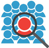 Group Icon and Magnifying Glass Royalty Free Stock Photos