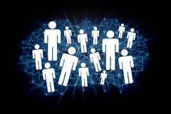 Group of icon people on a technologic background - Network conce Royalty Free Stock Image