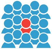 Group Icon With Red Figure. Group icon blue figures with one red Royalty Free Stock Images