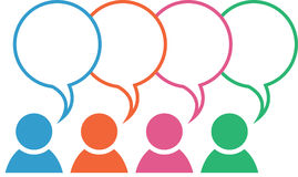 Group Icon Speech Bubble Colors Overlapping. Icon with group in different colors with blank overlapping speech bubbles Royalty Free Stock Photo