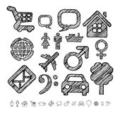 Group of icons for infographic in doodle style Stock Photo