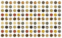 Group icons of nuts peppers peppers zebra seeds oats contrast pattern base base culinary royalty free stock photos