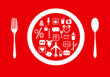 Group of icons on red backgrounds, Design business cards Royalty Free Stock Photography