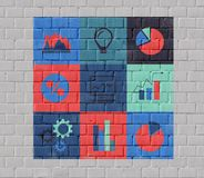 Group of icons. On a theme business on brick wall Royalty Free Stock Photos