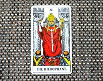The Hierophant Tarot Card Institutions Education Tradition Guru ccult. Group identity, large institutions, education, teaching, learning, tradition, orthodoxy Stock Photo