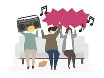 Group of illustrated friends listening to music Royalty Free Stock Photos