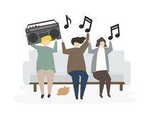 Group of illustrated friends listening to music Stock Photos