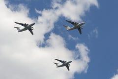 Group of Ilyushin Il-76MD cargo airplanes stock photo