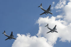 Group of Ilyushin Il-76MD cargo airplanes royalty free stock photo