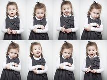 A group of images with the emotions of a little girl. Vertical portrait royalty free stock photos