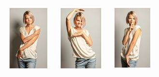 A group of images of a young beautiful woman royalty free stock images