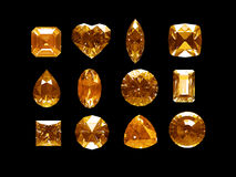 Group of imperial topaz with clipping path. Group of imperial topaz  (yellow topaz) with clipping path Royalty Free Stock Photography