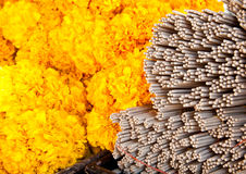 The group of incense stick and marigold flower Stock Images