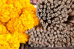 The group of incense stick and marigold flower Royalty Free Stock Image