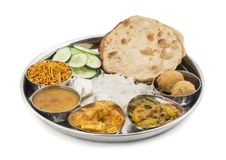 Indian food Thali. Group of Indian Food or Indian Thali, south indian thali, south indian compleat meal, south indian complete lunch Stock Image