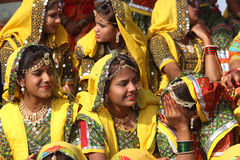Group of Indian girls in colorful ethnic attire Royalty Free Stock Photos