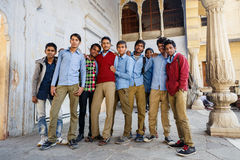 Group of Indian students in Jaipur Stock Photo