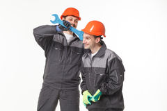 Group of industrial workers. Isolated over white background Stock Photography