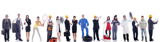 Group of industrial workers. Isolated on white background. Group of industrial workers,workers physician and bussines people stock photography