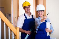 Group inspected the construction site builders Royalty Free Stock Photos