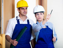 Group inspected the construction site builders Stock Photos