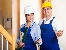 Group inspected the construction site builders Royalty Free Stock Photo
