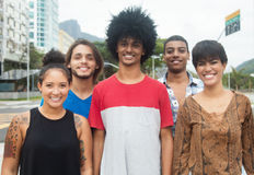 Group of international hipster young adults in the city Royalty Free Stock Image